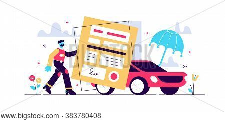 Car Insurance Vector Illustration. Stylized Motor With Agreement And Umbrella. Protection, Warranty