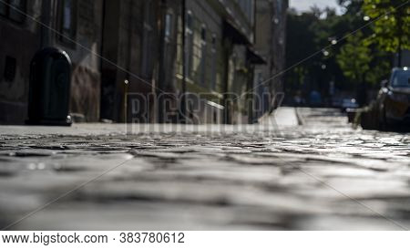 Old Paving Slabs With Recesses Between The Stones, Close-up, Selective Focus, Dark Tone 3.