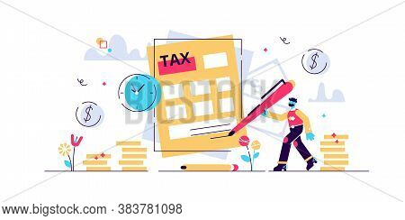 Taxes Vector Illustration. Flat Tiny Persons Concept With Payment Time Delay. Finance Service To Pay