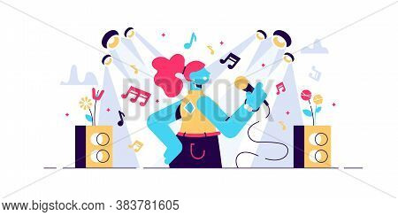 Singing Vector Illustration. Flat Tiny Musical Performance Persons Concept. Abstract Sound Singer Ho