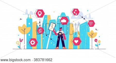 Smart City Vector Illustration. Flat Tiny Urban City Data Collection Persons Concept. Mobile Wireles