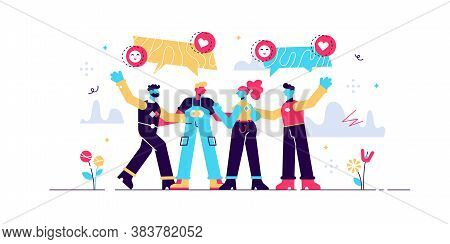 Friendship Vector Illustration. Flat Tiny Social Relationship Union Persons Concept. Trust And Solid