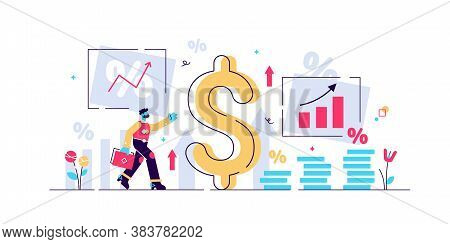 Inflation Vector Illustration. Flat Tiny Person Concept With Basic Economy Term. Money Value Recessi