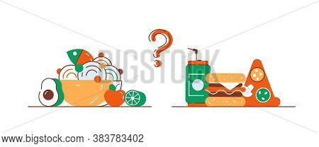 Food Choice. Healthy And Junk Eating. A Man Is Holding A Tray Organic Products And Fast Food. Diet D