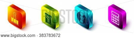 Set Isometric Binder Clip, Calendar, Cd Or Dvd Disk And Calculator Icon. Vector