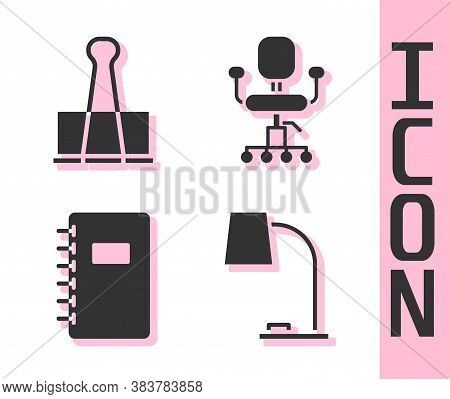 Set Table Lamp, Binder Clip, Spiral Notebook And Office Chair Icon. Vector