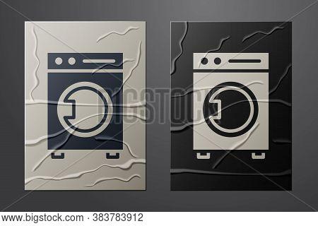 White Washer Icon Isolated On Crumpled Paper Background. Washing Machine Icon. Clothes Washer - Laun