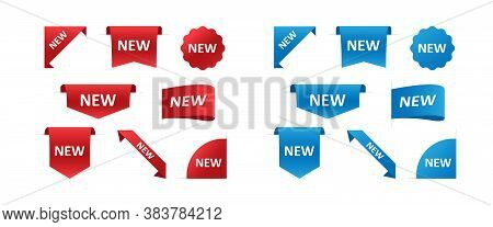 Ribbons And Stickers For New Arrival Shop Product Tags, New Labels. Vector Eps10