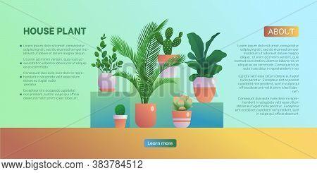 House Plant Landing Page Template. Home Gardening Website, Homepage, Home Organic Interior Design, U