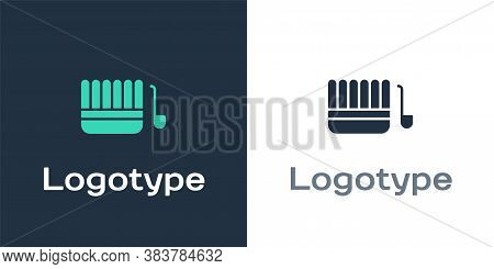 Logotype Sauna Bucket And Ladle Icon Isolated On White Background. Logo Design Template Element. Vec