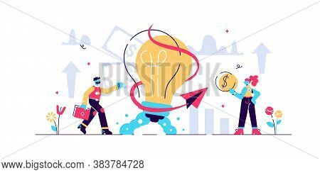 Business Ideas Vector Illustration. Flat Tiny Creative Work Persons Concept. Symbolic Brainstorming