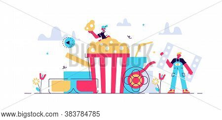 Movies Vector Illustration. Flat Tiny Media Film Theater Persons Concept. Abstract Popcorn, 3d Glass