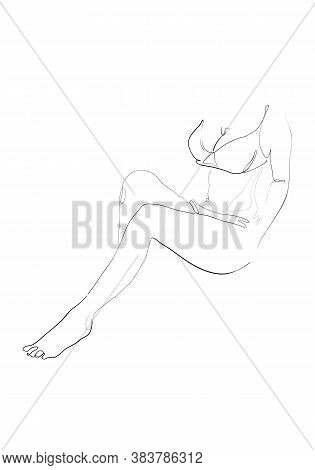 Continuous Line Naked Woman Or One Line Drawing On White Isolated Background. Fashion Concept,