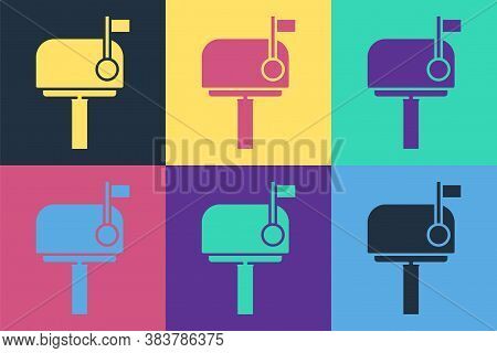 Pop Art Mail Box Icon Isolated On Color Background. Mailbox Icon. Mail Postbox On Pole With Flag. Ve