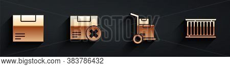 Set Carton Cardboard Box, Carton Cardboard Box And Delete, Hand Truck And Boxes And Container Icon W