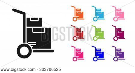 Black Hand Truck And Boxes Icon Isolated On White Background. Dolly Symbol. Set Icons Colorful. Vect