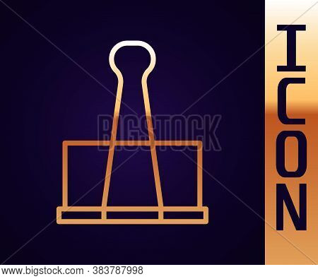 Gold Line Binder Clip Icon Isolated On Black Background. Paper Clip. Vector Illustration