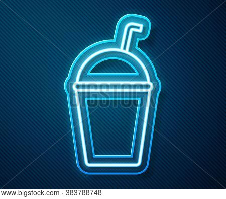 Glowing Neon Line Milkshake Icon Isolated On Blue Background. Plastic Cup With Lid And Straw. Vector