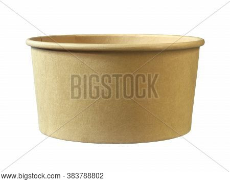 Paper Food Box Disposable Bowl (with Clipping Path) Isolated On White Background