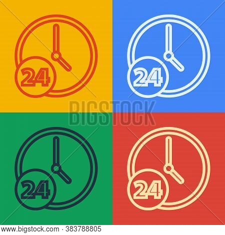 Pop Art Line Clock 24 Hours Icon Isolated On Color Background. All Day Cyclic Icon. 24 Hours Service