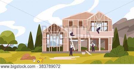 Group Of Male Workers Constructing Cottage Vector Flat Illustration. Team Of Builders In Uniform Mak