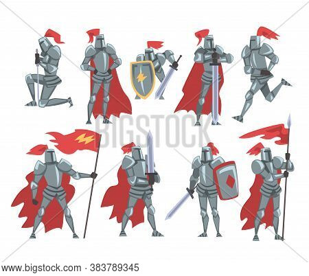 Medieval Knights Set, Chivalry Warrior Characters In Full Metal Body Armor With Weapon Cartoon Style