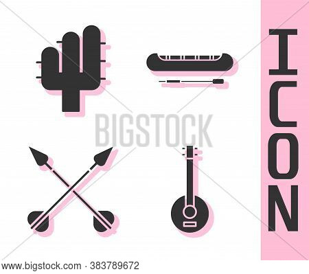 Set Banjo, Cactus, Crossed Arrows And Kayak Or Canoe And Paddle Icon. Vector