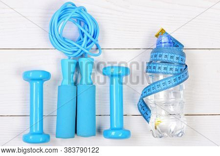 Sports Equipment In Cyan Blue Color, Top View