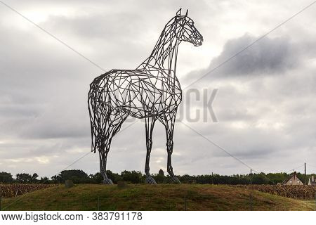 Loire Valley, France - September 7, 2019: Archeval Is The Equestrian Statue (sculptor Ch. Renoncia)