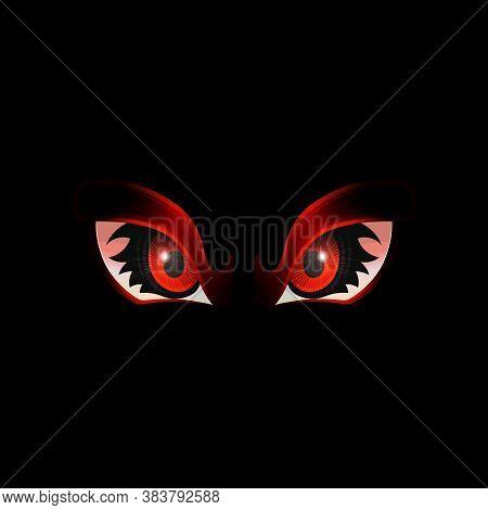 Staring And Glowing Evil Or Monster Eyes, Realistic Vector Illustration Isolated.
