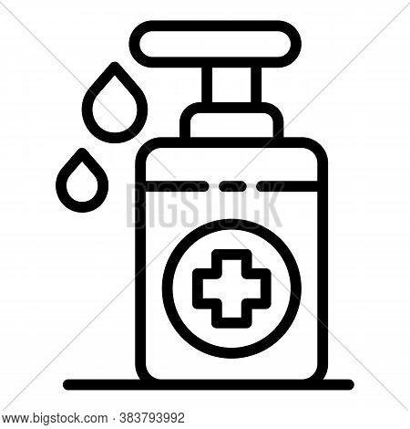Antivirus Disinfection Bottle Icon. Outline Antivirus Disinfection Bottle Vector Icon For Web Design