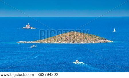 Islands Near The Adriatic Coast Near The Rogoznica Village, A Popular Tourist Destination On The Dal