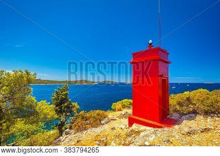Adriatic Coast With Lighthouse Near The Rogoznica Village, A Popular Tourist Destination On The Dalm