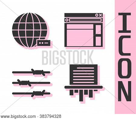 Set Paper Shredder, Social Network, Barbed Wire And Website Template Icon. Vector