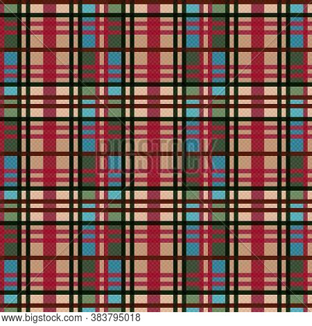 Tartan Scottish Seamless Pattern In Blue And Green Colors With Muted Red And Dark Green Lines, Textu