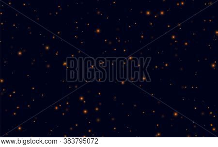 Orange Sparkles On A Dark Blue Background, Fireflies Flying In The Night. Abstract Lightning Bugs In