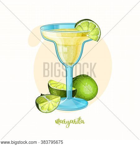 Vector Margarita Cocktail Glass With Limes. Alcohol Drink