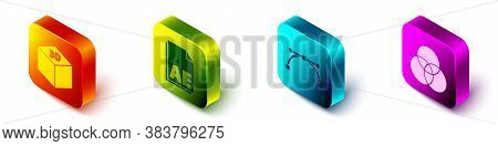 Set Isometric Isometric Cube, Ae File Document, Bezier Curve And Rgb And Cmyk Color Mixing Icon. Vec
