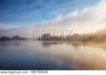 Landscape With A River In Foggy Morning. River Vah Near Strecno Village, Slovakia, Europe.