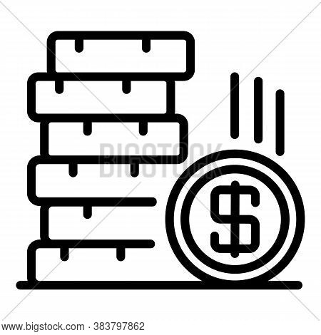 Coin Stack Bonus Icon. Outline Coin Stack Bonus Vector Icon For Web Design Isolated On White Backgro