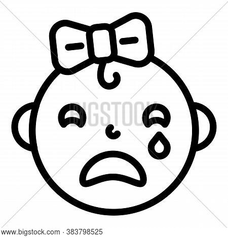 Crying Baby Girl Icon. Outline Crying Baby Girl Vector Icon For Web Design Isolated On White Backgro