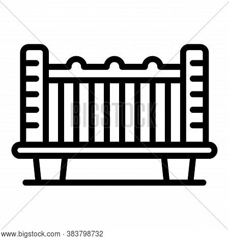 Baby Crib Icon. Outline Baby Crib Vector Icon For Web Design Isolated On White Background