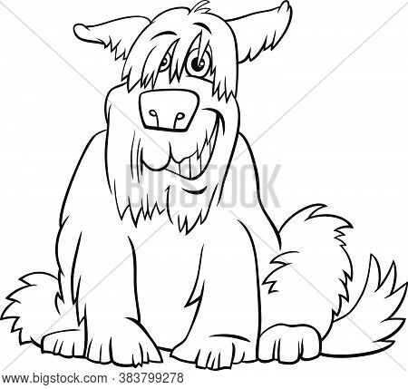 Black And White Cartoon Illustration Of Funny Shaggy Sitting Dog Comic Animal Character Coloring Boo
