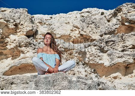 Woman Enjoying View From Hill. Meditation On Fresh Air. Virgin Nature. Contemplation Or Yoga Concept