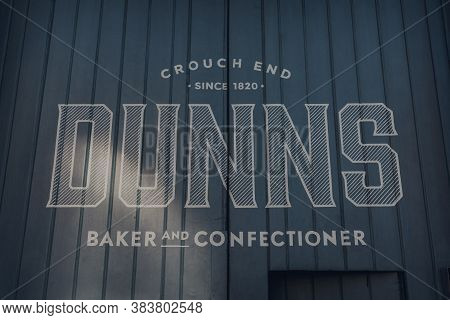 London, Uk - August 20, 2020: Sign Outside Dunns, Famous Bakery Dating Back To 1820 In Crouch End, A