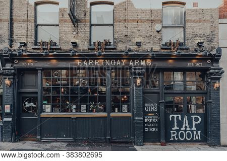 London, Uk - August 20, 2020: Exterior Of A Closed Haringey Arms Pub In Crouch End, An Area In North