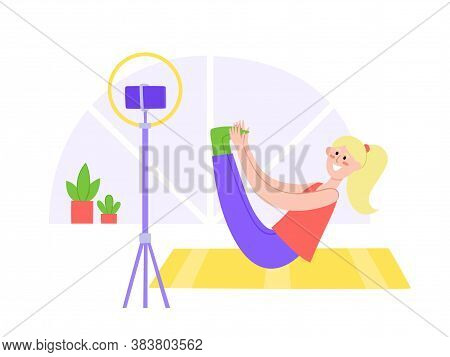 Yoga Online With Coach In Dynamic Pose Doing Physical Exercises