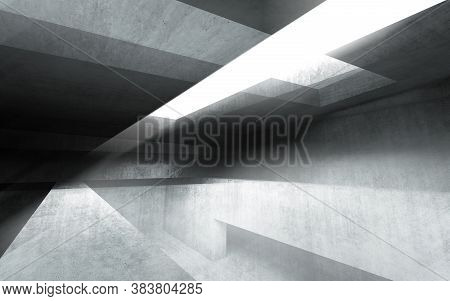 Abstract Concrete Interior Background, Blue Toned Digital Illustration With Double Exposure Effect,
