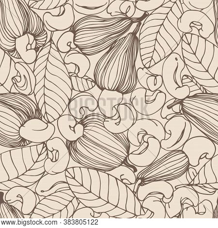 Seamless Pattern Of A Set Of Peeled Cashew Nuts, Leaves & Fruits, For Ornaments, Menu Decorations, C