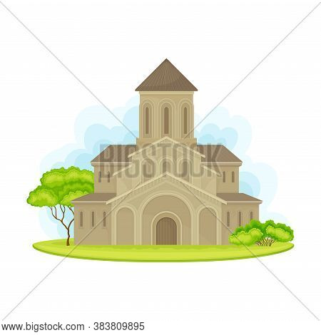 Holy Trinity Cathedral As Georgia Country Attribute Vector Illustration